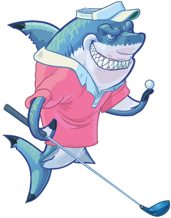 Vector cartoon clip art illustration of a tough mean smiling shark mascot wearing a golf shirt and visor while holding a driver club and ball. Customizable accessories are on a separate layer in the vector file.