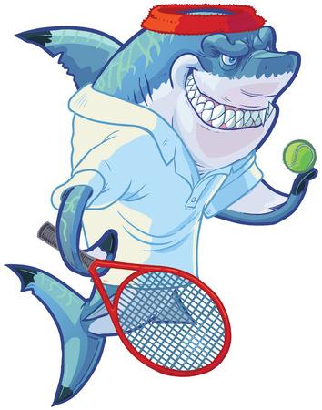라켓이나 라켓과 공을 잡고 테니스 셔츠와 머리 띠를 입고 힘든 평균 웃는 상어 마스코트의 벡터 만화 클립 아트 그림입니다. 사용자 정의 액세서리는  일러스트