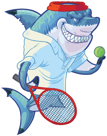Vector cartoon clip art illustration of a tough mean smiling shark mascot wearing a tennis shirt and headband while holding a racquet or racket and ball. Customizable accessories are on a separate layer in the vector file. Illustration