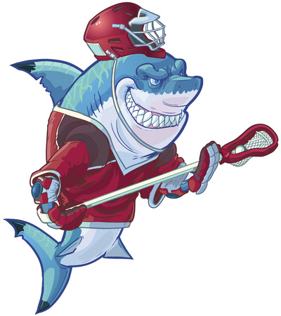 Vector cartoon clip art illustration of a tough mean smiling shark mascot wearing a lacrosse uniform and an ill-fitting helmet. Helmet and uniform are on separate layers in the vector file.