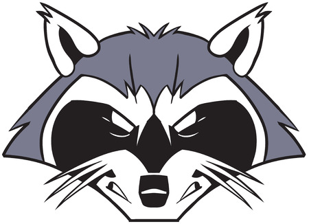 Vector cartoon clip art illustration of a rough tough and mean looking  raccoon mascot head or face.