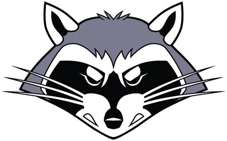 Vector cartoon illustraties illustratie van een gestileerde moeilijke gemiddelde wasbeer mascotte hoofd of gezicht. Stock Illustratie