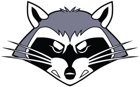 Vector cartoon clip art illustration of a stylized tough mean raccoon mascot head or face.