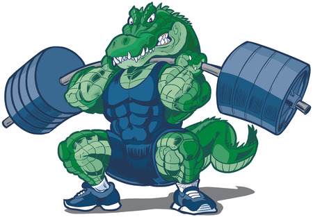 Vector cartoon clip art illustration of a tough mean weightlifting alligator or crocodile mascot wearing a singlet and doing a squat with a barbell. Illustration