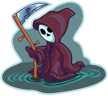 Vector cartoon clip art illustration of a cute little or young child version of death or the grim reaper, wearing an oversize hoodie or hooded sweatshirt instead of a robe and holding a scythe.