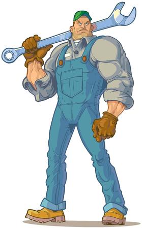 Clip Art Vecteur Illustration de bande dessinée d'un grand mécanicien recherche dure ou ingénieur (ou autre type de bricoleur) tenant une clé.