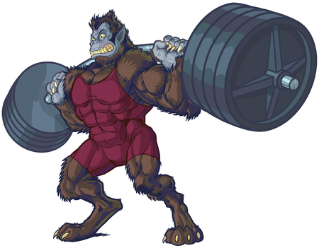 barbell: Vector cartoon clip art illustration of a tough mean weightlifting beast man mascot with werewolf and gorilla features wearing a singlet and doing a squat with a barbell.