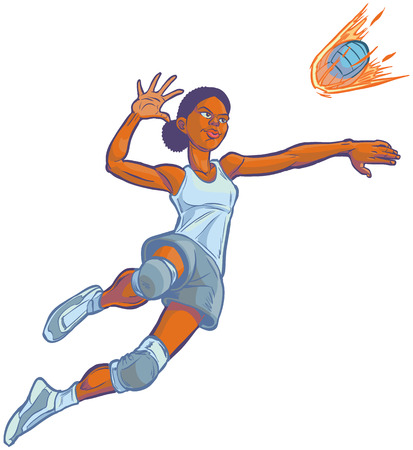 teenager: Cartoon clip art illustration of an African American girl volleyball player jumping to spike an incoming serve that looks like a fire ball. Uniform color can be customized in vector.