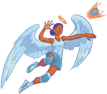 halo angel: Cartoon clip art illustration of an African American girl angel volleyball player mascot jumping to spike an incoming serve that looks like a fire ball. Wings and halo are on a separate layer in vector.