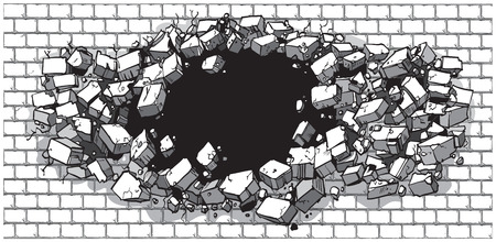 rubble: Vector cartoon clip art illustration of a hole in a wide brick or cinder block wall breaking or exploding out into rubble or debris. Ideal as a customizable background graphic element. Vector file is layered for easy customization.