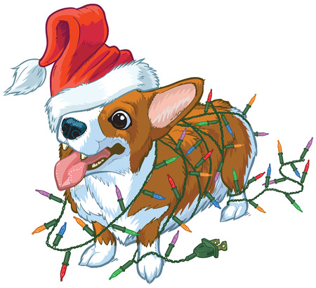 Vector cartoon clip art illustration of a cute and happy welsh corgi dog or puppy wearing a Santa Claus hat over one eye and tangled in colorful Christmas tree lights. Dog is on separate layers in the vector file. Illustration