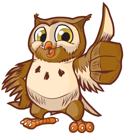 Vector cartoon clip art illustration of a cute and happy owl mascot giving the thumbs up hand gesture.