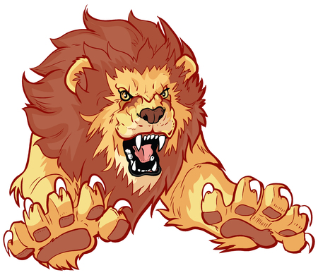 Vector cartoon clip art illustration of a roaring lion leaping or jumping forward toward the viewer with its claws out.
