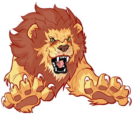 dibujo: Vector de dibujos animados ilustración imágenes prediseñadas de un león rugiente que salta o saltar hacia adelante hacia el espectador con sus garras.