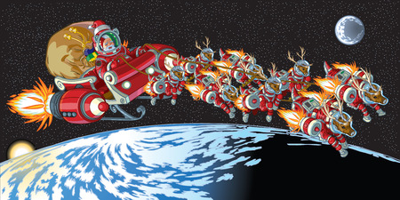 Vector cartoon clip art illustration of Santa Claus and his reindeer wearing astronaut space suits and driving a rocket powered sleigh in earth orbit. Important objects on separate layers. Stock Illustratie