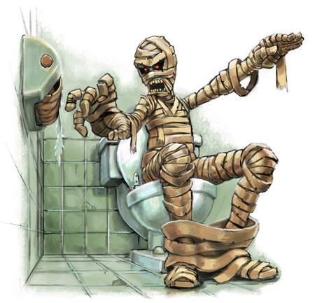 A funny cartoon illustration of a scary mummy sitting on a toilet who suddenly realizes that there is no toilet paper on the roll. Grave consequences must follow. Created as a digital painting. Archivio Fotografico