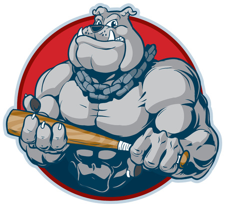 Vector cartoon clip art illustration of a tough mean muscular bulldog mascot with a chain around its neck holding a bat manacingly. designed as a bust inside a circle.