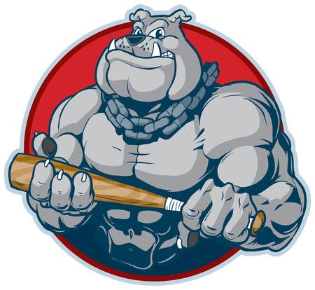 Vector cartoon illustratie van de klemkunst van een moeilijke gemiddelde gespierde bulldog mascotte met een ketting om zijn nek met een knuppel manacingly. ontworpen als een mislukking in een cirkel.
