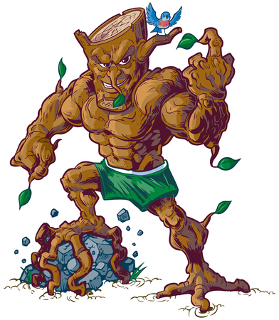 tough: Vector cartoon clip art illustration of a tough mean tree man mascot crushing a rock with his root foot while a bird taunts opponents from his branches.
