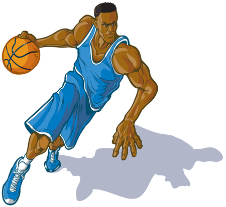 Cartoon vector clip art illustration of a African American male basketball player dribbling. Uniform can be changed to any color in vector file. Illustration