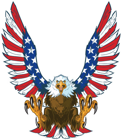 Vector cartoon clip art illustration of a mean screaming bald eagle flying toward the viewer with wings spread and talons out. Wings are treated with American flag graphics and colors. Illustration