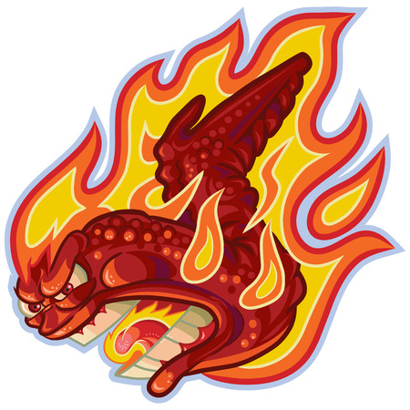 Vector cartoon clip art illustration of an angry buffalo or hot chicken wing on fire or in flames with a screaming anthropomorphic face. Ilustração