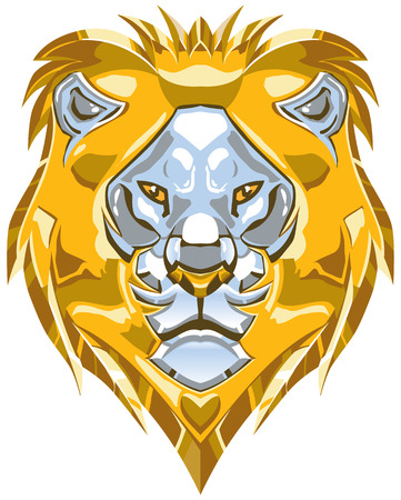 polished: Vector cartoon clip art illustration of a polished shiny metallic gold and silver or chrome lion head ornament.