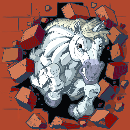 Cartoon vector clip art illustration of a tough mean white horse or bronco or colt mascot crashing through a brick wall. Character art is on separate layers in vector file.