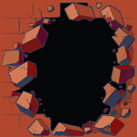 ruins: Vector cartoon clip art illustration of a hole in a red brick wall breaking or exploding out into rubble or debris. Ideal as a customizable background graphic element. Vector file is layered for easy customization.