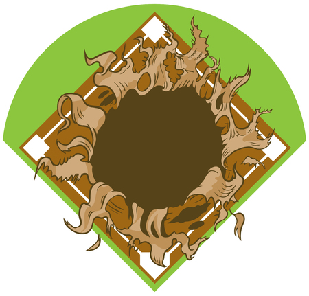 Vector cartoon clip art illustration of a hole ripping out of a baseball or softball diamond or field background.