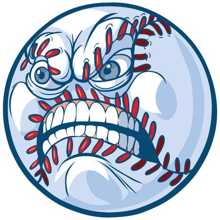 Vector Cartoon Clip Art Illustration of a baseball or softball with an angry face. 일러스트