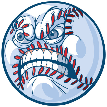 Vector Cartoon Clip Art Illustration of a baseball or softball with an angry face. Stock Illustratie