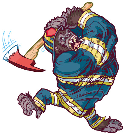 Vector cartoon clip art illustration of a tough angry gorilla mascot wearing a firefighter uniform and swinging a fire axe Illustration