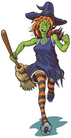 Vector cartoon clip art illustration of an ugly or scary witch mascot running or jogging with a broom.