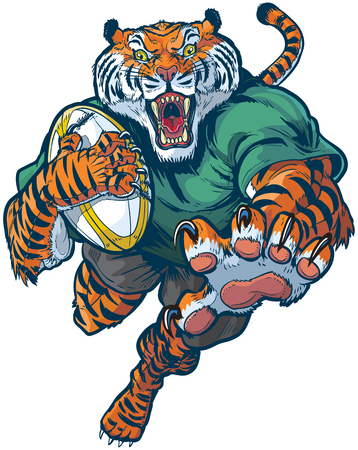 Vector cartoon clip art illustration of a tough mean tiger rugby mascot leaping or jumping forward with claws out, ripping the ball and roaring.