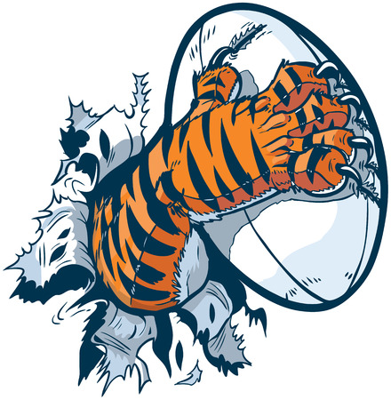 tearing: Vector cartoon clip art illustration of a tiger mascot paw ripping out of the background gripping a rugby ball and tearing it with its claws.