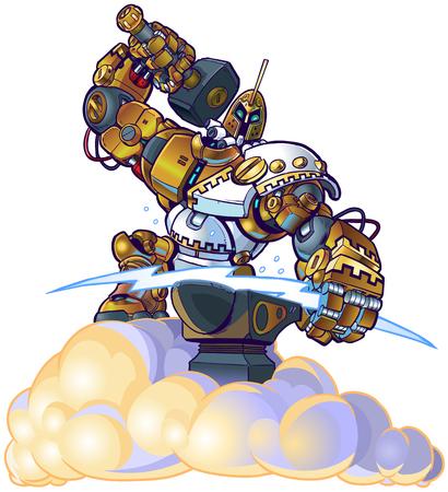 Vector cartoon clip art illustration of a Greek god robot blacksmith forging a lighting bolt with a hammer and anvil on a cloud.