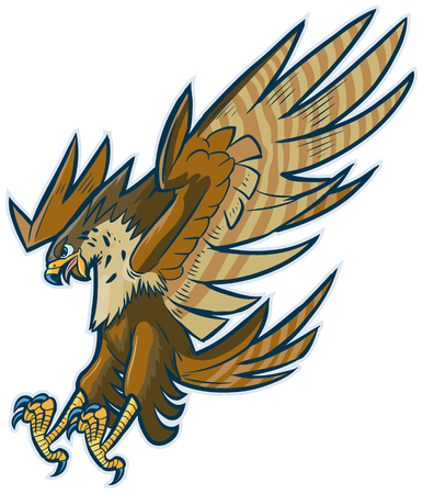 Vector cartoon illustratie van de klemkunst van een havik, valk of arend mascotte duiken of omlaag duikt met gespreide vleugels en klauwen en open bek.