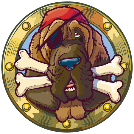 Vector cartoon clip art illustration of a pirate bloodhound dog head in a porthole with crossed bones in its mouth. He is wearing an eyepatch and bandana.