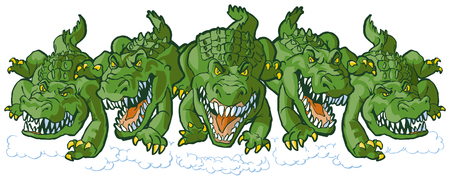 Vector cartoon clip art illustration of a group of tough mean alligator mascots charging or running forward. Each character is on a separate layer. Illustration