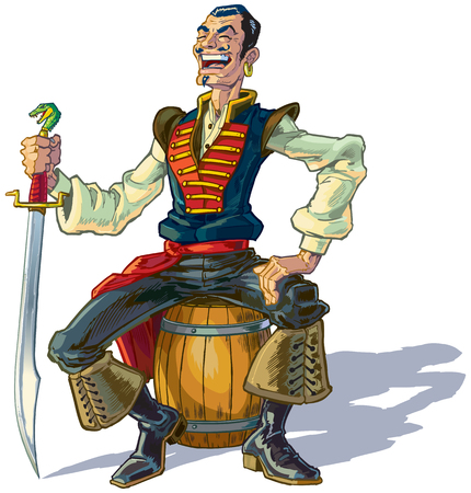 scimitar: Vector cartoon clip art illustration of an Arabian sailor or pirate sitting on a barrel while laughing and holding a sword. Could represent Sinbad or one of his men. Illustration
