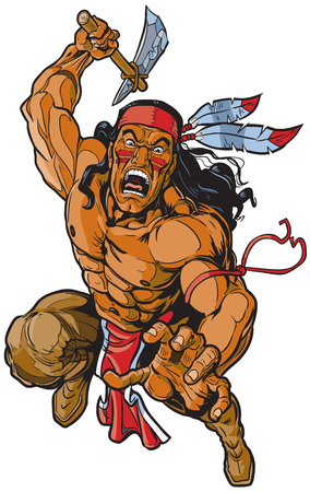 Vector cartoon clip art illustration of an Apache Native American warrior or brave leaping toward the viewer and attacking with a tomahawk.