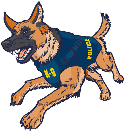 Vector cartoon clip art illustration of a police K9 german shepherd dog with a bulletproof vest running toward the viewer and barking.