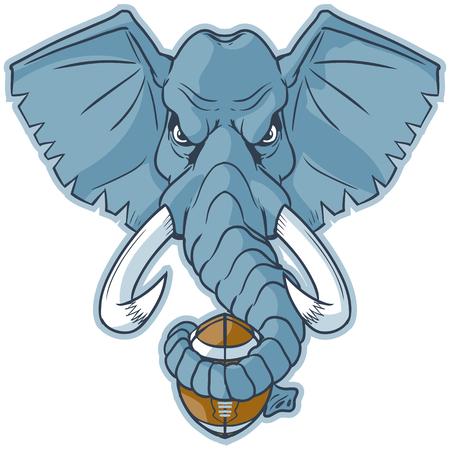 Vector cartoon clip art illustration of an elephant mascot head holding a football wrapped in its trunk. Illusztráció