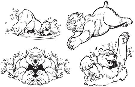 黒と白のベクトル漫画クリップ アート イラストはクマの水泳およびダイビングのゴーグルのセットです。任意のタイプのくまのように色を指定でき