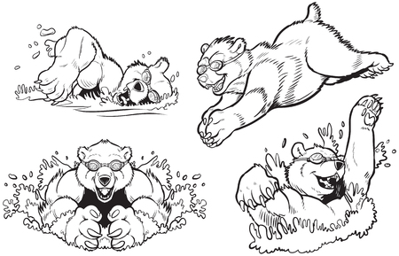 kodiak: Black and White Vector cartoon clip art illustration set of bears swimming and diving with goggles on. Can be colored to look like any type of bear.