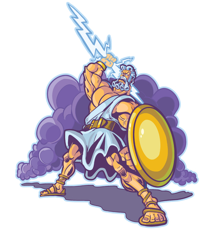 giant: Vector clip art cartoon illustration of an angry greek or roman thunder and lightning god or titan mascot, raising a lighting bolt and holding a shield. Cloud is on a separate layer.