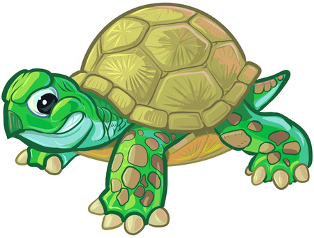 Vector cartoon clip art illustration of a cute but tough baby turtle or tortoise mascot with a feisty smirk or smile on its face.