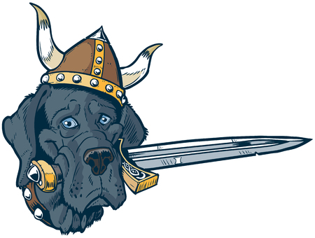 Vector cartoon clip art illustration of a funny cute Blue Great Dane dog head mascot wearing a viking helmet and holding a sword in its mouth. Also a pun. Illustration