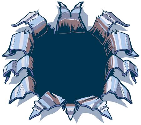 Deze vector cartoon illustraties illustratie sjabloon is ontworpen om te verschijnen alsof er iets achter de achtergrond is het rippen, ponsen, of exploderen door middel van aluminium of verchroomd staalplaat. Wat is dat er iets zal zijn is aan jou! Stock Illustratie